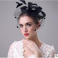 Wholesale Vintage Veil Headband - Manual exaggerated bows hemp shamao hair band Vintage bridal veil party hat headdress four colors shipping free