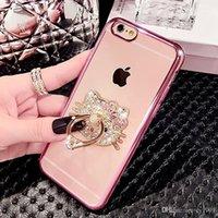 elmas taş bling cep telefonu durumlarda toptan satış-IPhone 7 için Kılıf Cep Telefonu Zil Tutucu Durumlarda Bling Elmas Rhinestone Kickstand Durumlarda Kristal TPU Kapak iphone 6 6 s 7 artı