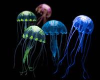 tanque de medusas artificial al por mayor-Glowing Effect Artificial Jellyfish Fish Tank Acuario Decoración Ornamento Sjipping gratis G953