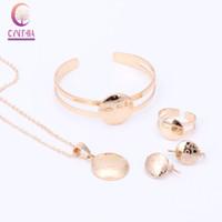 Wholesale Gold Bracelets For Boys - Lovely Kid's Jewelry Sets Dubai Gold Color Necklace Earrings Adjustable Bracelet Ring For Children Boy&Girls Gift