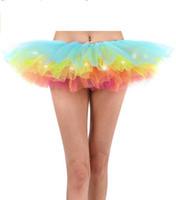 jupon achat en gros de-Gros-Éclairage Up Gaze Robe Femmes LED Lumière Multicolore Petticoat Danse Rave Tutu Jupe Pour Club Runway Effectuer Afficher Costume