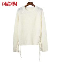 Wholesale Double Sided Sweater - Wholesale-Tangada Knitted Sweaters For Women Fashion Hem Side Double Bow Tie Pullover Long Sleeve Thick Warm Loose Casual Brand Tops L128