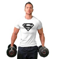 Wholesale Superman Long Sleeve Mens - Mens T-shirt Muscle Golds gyms Fitness clothing Bodybuilding tops Workout Clothes Cotton Superman gyms T Shirts plus size M-2XL