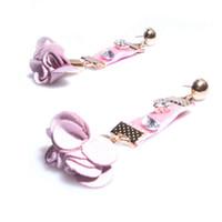 Wholesale Pink Ear Studs - Pink Velvet Stud Earrings Trendy Rhinestone Imitation Pearl Rose Charm Dangle Earrings Fine Handmade Eardrop Ear Jewelry