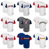Wholesale Free Shipping World - 2017 World Baseball Classic Jersey Puerto Rico Canada Dominicana Americ Ltalia Venesuela Mexico Cuba WBC jerseys Free shipping