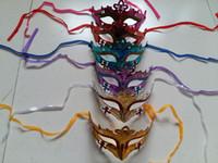 mascarilla surtida al por mayor-Fiesta de disfraces para mujer Mascarada Máscaras de Halloween Color Brillo Mascarada pintada Mascarilla facial - Máscara de carnaval color surtido