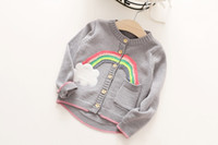 Wholesale Cardigan Cotton Rainbow - Children princess knitting sweater girls cotton rainbow single pocket cardigan sweater autumn kids round neck long sleeve outwears C0777