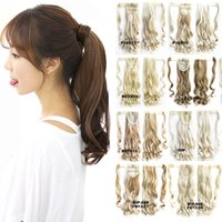 Wholesale Magic Clip Hair Extensions - Wholesale- Another 16 colors Wave Mixed Magic Hair Ponytail Hair Pieces Drawstring Ribbon Hairpiece Clip In Pony Tail Hair Extensions