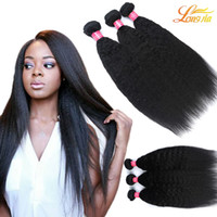 Wholesale Cheap Kinky Straight Human Hair - Cheap But High Quality Brazilian Kinky Straight Hair Peruvian Malaysian Indian Human Hair Weave Bundles Machine Double Weft