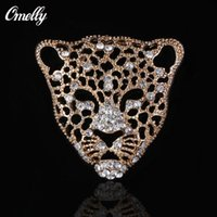Homem Jóias Rhinestone Crystal Leopard Tiger Broches Pins Animal Diamante Wedding Bouquet Broches Pin Unisex Atacado a granel
