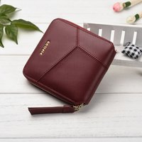Wholesale England Style Women - New Arrived Fashion Patchwork Solid Genuine Leather Women Purse England Style Short Cowhide Mini Small Wallets carteira de couro