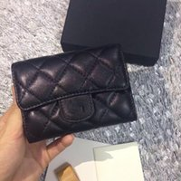 Wholesale quilted leather clutch - 2017 Women's Fashion Card Holders Genuine Leather Lambskin Quilted Flap Mini Wallets Female Purses Card Holder Coin Pouch wiht box