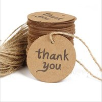 Wholesale Wholesale Gift Packaged Bookmarks - 4cm Thank You Kraft Paper Price Hang Tags Wedding Party DIY Cards Xmas Gift Wrap Packaging Brown Label Bookmark Decoration