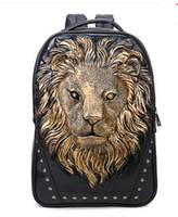 Wholesale Animal Gym Bag - sales brand bag street Toufeng 3D stereo lion head animal travel bags Tidal current personality rivet bag Creative fashion student bag