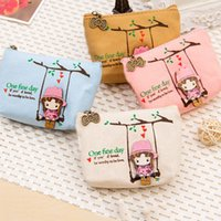 Atacado-2016 Nova Cartoon Bonito Carteira Pouch Card Purse Zip Chave Holder Case Mini Canvas Bags Canvas Cute Adorável Swing Girl Coin Bolsa