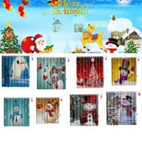 Wholesale Wholesale Shower Curtain Rings - Christmas shower curtain Bathroom Waterproof Polyester 3D 12 rings hooks Bathroom Shower Curtain Christmas Decoration 165*180cm LJJK770