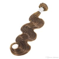 Wholesale Weave Suppliers - Remy Human Hair Bundles Weft Weaves Body Wave #4 Light Brown 1pcs Can Be Curled Unprocessed Peruvian Virgin Hair Extension Supplier A9
