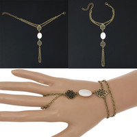 Wholesale Chain Connect Ring - 10 Pcs Retro Bracelet Connected Finger Ring Design Slave Harness Chain Bracelet For Women 2017 New Boho Bracelet
