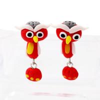 Wholesale bird clay - Animal Lovely Bird soft handmade Polymer clay cartoon earrings eardrop by hand ER757