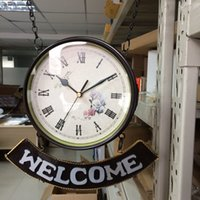 Wholesale Double Wall Clock - Clocks Wall Clocks New Style Handmade Metal Crafts Home Decoration On The Wall Wrought Iron Double Faced Wall Clock Retro Design Vintage