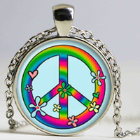 Wholesale Gif Chain - Hippie necklace Hippie pendant Hippie jewelry peace necklace peace jewelry peace pendant gif glass Cabochon Necklace