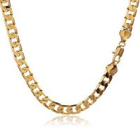 Wholesale 9k Gold Filled Necklace - 9K Gold plated Mens Cuban Link Chain Long Necklace Wedding Jewelry