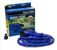 Wholesale Expandable Hose Head - 100FT Expandable Flexible Garden Magic Water Hose With Spray Nozzle Head Blue Green with retail box Free Shipping