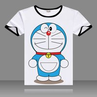 Wholesale Lol T Shirts - 2017 T-shirts Doraemon Cosplay Black O-Neck Short Sleeve Spoof LOL Creatively Costumes Print Shirts Tops Summer Tees