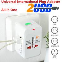 Wholesale Eu Socket Usb - Electric Plug Wall Power Socket Adapter International travel adapter Universal Travel Socket USB Power Charger Converter EU UK US AU Plug