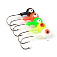 Wholesale soft fishing jigs - High Quanlity Jig Lead Head fishing hook 1g 3.5g 5g 7.0g 10g soft Grub worms bait Fish Hooks