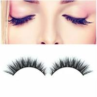 Wholesale extension mm - Wholesale High Quality 1Pair 3D Natural Bushy Cross False Eyelashes Mink Hair Handmade Eye Lashes 12 mm Charming Eyelash Extensions
