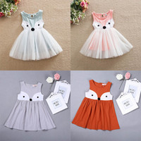 Wholesale One Size Girls Dresses - Girls Dress Fox Cartoon One-piece Dress Sleeveless Lace Cotton Kids Skirt 4 colors 5 sizes 2-7T