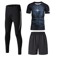 spiderman pants for men - 3 Pieces Compression Suit For Men Superheros Spiderman Short Compression Tights Workout Fitness T Shirt D Printed pants