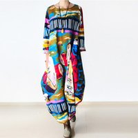 Wholesale Linen Club Clothes - Wholesale- Johnature 2016 New Print Women Maxi Dress Cotton Linen Long Sleeve Robe O-Neck Loose Plus Size Long Autumn Clothing Dress