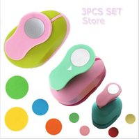 Wholesale craft punches set - Wholesale- 3PCS(5cm,3.8cm,2.5cm) Round shape craft punch set children manual DIY hole punches cortador de papel de scrapbook