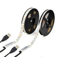 rohs led şerit aydınlatma toptan satış-5 V USB LED Şeritler 1 M 2 M 3 M 4 M 5 M SMD3528 RGB SMD5050 Esnek LED Bant Işıklar TV Araba Bilgisayar Çadır için Aydınlatma