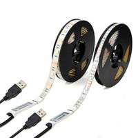 feux de télévision achat en gros de-5V USB LED Bandes 1M 2M 3M 4M 5M SMD3528 RGB SMD5050 Lumières de bande LED flexibles pour éclairage de tente d'ordinateur de voiture de télévision