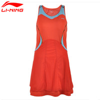 Wholesale Tenis Dresses - Wholesale- Li-Ning Women's Summer Breathable Tennis Dresses for Girls Sleeveless Above Knee Quick Dry Sports Woman's tenis Dress ASKH004