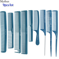 Wholesale Comb Hair Carbon - Carbon Hair Comb 9 pcs Lot Blue Hair Cutting Combs Set, Hair Tail Comb in Different Design For Professional Usage, T&G-9