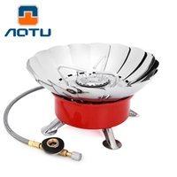 Wholesale AOTU K203 Windproof Camping Portable Gas Stove Lotus Ultra light Burner Cooker OutDoor Equpments electronic ignition camping outdoor