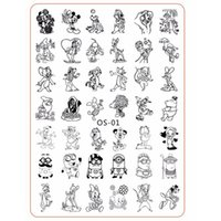Wholesale Cat Stamping Nail - Wholesale- Cartoon Cute Animal Designs nail disk nail art image plate Stamping Template Mouse Cat Dog DIY Tools with Protective Back OS-01