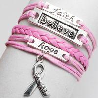 Wholesale Double Wings Bracelet - Angel Wings Double Love Owl Faith Believe Hope Charm Bracelet Vintage Pink White Brown Multilayer Braided Leather Bracelet