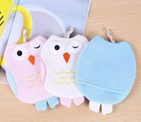 Wholesale Baby Owl Gloves - Baby Sponge Skin Rub Mitt Kids Child Bath Brush Owl Shape Body Glove Bathing Massage Towel Bathroom Accessories ZA3846