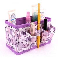 Wholesale Makeup Organiser Box - Wholesale- 2016 New Makeup Cosmetic Storage Box Bag Bright Organiser Foldable Stationary Container, High Quality Women Make up Bag