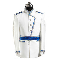 Wholesale Clothes For Nightclub - Wholesale- 2015 costume sexy costume Fashion royal clothes set male formal dress costume white for singer dancer star nightclub