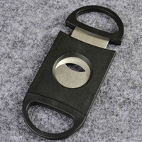 Wholesale Cigars Cutters - Pocket Plastic Stainless Steel Double Blades Cigar Cutter Knife Scissors Tobacco Black New Black Scissors 3002012