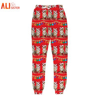 Wholesale Galaxy Trousers - Wholesale- Alisister Unisex Christmas Pants Men Women 3D Printed Galaxy Cats Trousers Funny Sweatpants Casual Sweat Pants Joggers Plus Size