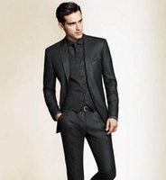 Wholesale Custom Skinny Ties - Wholesale- Top Selling New black Custom made two buttons tuxedo for men Groom Tuxedos men Ball Gowns( jacket+Pants+vest+tie)