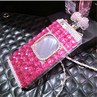 Wholesale Chinese Perfumes - 10pcs Luxury Diamond Perfume Bottle Bow Rose Mirror chain case for iphone 5 5s se 6 6s 7 plus Samsung galaxy j5 2017