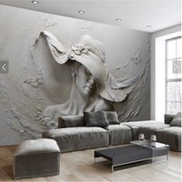 Wholesale japan wall painting - Custom Wallpaper 3D Stereoscopic Embossed Gray Beauty Oil Painting Modern Abstract Art Wall Mural Living Room Bedroom Wallpaper